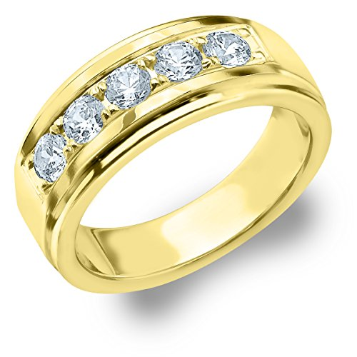 1 CTTW Legacy Men's Wedding Ring, Genuine Diamond Ring for Men in 14K Yellow Gold, Finger Size -