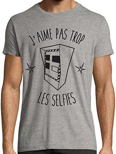 """Marvelous Brand Camiseta para hombre, diseño con texto en francés «J""""aime pas trop les selfies», estilo motero blanco medium: Amazon.es: Coche y moto"""
