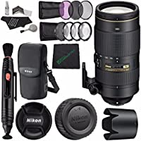 Nikon AF-S NIKKOR 80-400mm f/4.5-5.6G ED VR Lens MFR # 2208 + 77mm 3 Piece Filter Set (UV, CPL, FL) + Microfiber Cleaning Cloth + Lens Pen Cleaner Bundle