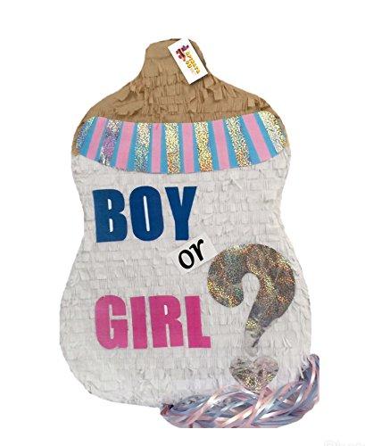 APINATA4U Boy or Girl Baby Bottle Gender Reveal Pinata Pull Strings -