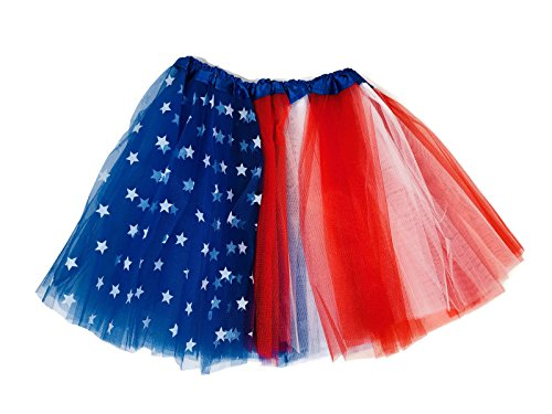 Rush Dance Multi Color Women's Costume Ballet Warrior Dash Run Tutu (Adult, Red/White/Blue with Stars (Halloween Costumes Dancing With The Stars)