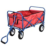 Red Pocket & Blue Frame Collapsible Utility Garden Toy Cart Folding Yard Buggy Wagon with Removable Canvas for House and Sport Beach