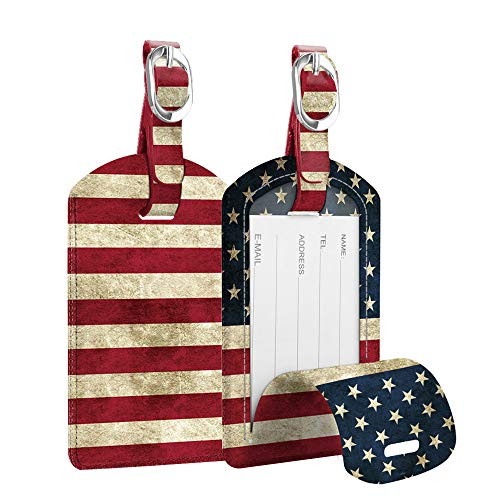[2 Pack] Luggage Tags, Fintie Leather Name ID Labels with Back Privacy Cover for Travel Bag Suitcase, US Flag ()