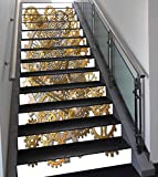Stair Stickers Wall Stickers,13 PCS Self-Adhesive,Clock Decor,The Gears in The Style of Steampunk Mechanical Design Engineering Theme,Gold and Brown,Stair Riser Decal for Living Room, Hall, Kids Room