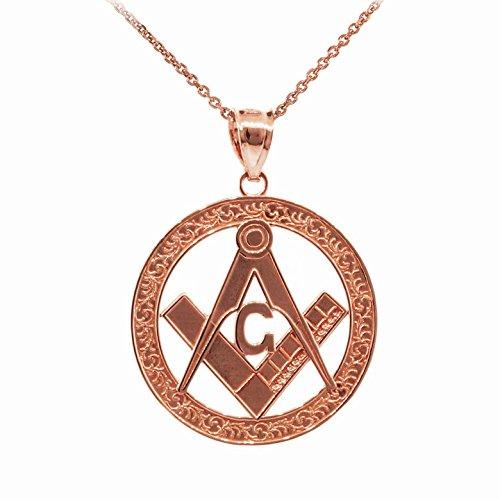 14 KローズゴールドFreemason Round Masonic Bailペンダントネックレス B0170VTO80 22.0 インチ