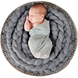 Newborn Photography Basket Braid Wool Wrap Baby Photo Props - Grey