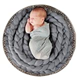 Newborn Photography Basket Braid Wool Wrap Baby Photo Props - Grey