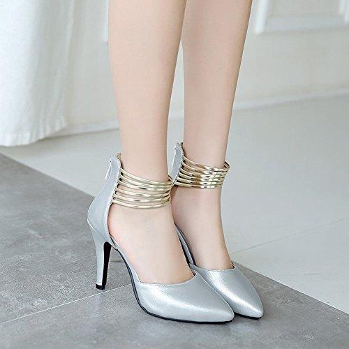 MissSaSa Damen ankle-Strap high heel Pointed Toe Pumps Silber