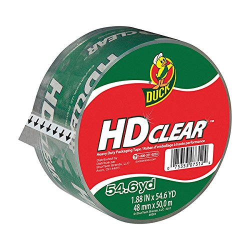 Duck HD Clear High Performance Crystal Clear Packing Tape, 1.88