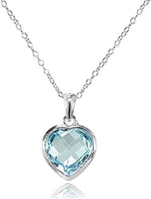 925 Sterling Silver Polished Spring Ring White Sworovski Crystal 10mm Pendant Necklace 18 Inch Jewelry Gifts for Women