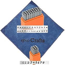 ImpressArt Basic Bridgette Numbers Metal Stamp Set Bundled with Basic Bridgette Lowercase Metal Stamp Set and Epic Crafts Microfiber Cloth