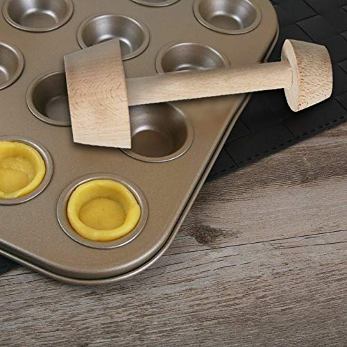 FidgetKute Wood Tart Tamper Double Sided Wooden Pastry Baking Egg Cake Pusher Kitchen Tools