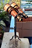 Nautical Binocular On Tripod Stand Handcrafted Brass Binocular On Brass Tripod Stand Antique Design Maritime Decorative Office Desk Decorative Binoculars Handstitched Leather Covering