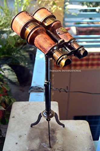 Nautical Binocular On Tripod Stand Handcrafted Brass Binocular On Brass Tripod Stand Antique Design Maritime Decorative Office Desk Decorative Binoculars Handstitched Leather Covering by Expressions Enterprises