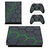 eXtremeRate Honey Comb Full Set Faceplates Skin Stickers for Xbox One X Console Controller with 2 Pcs Home Button Decals