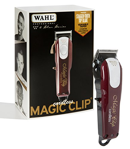 Red Package Power (Wahl Professional 5-Star Cord/Cordless Magic Clip #8148 – Great for Barbers and Stylists – Precision Cordless Fade Clipper Loaded with Features – 90+ Minute Run Time)