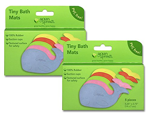 Green Sprouts Tiny Bath Mats - 2 Packages - 10 Whale Shaped Baby Bath Mats with Suction Cups