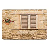Bathroom Bath Rug Kitchen Floor Mat Carpet,Tuscan,Rustic Stone House and Window Shutters Flower Pot on Wall Italian Country Home Theme,Beige,Flannel Microfiber Non-slip Soft Absorbent