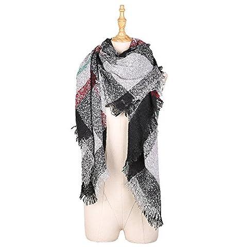 Menglihua Fashion Bright Color Circle Yarn Plaid Tartan Blanket Gift Scarf Wrap Shawl BlackGray - Yarn Fuchsia Plum