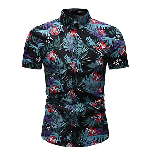 Toimothcn Hawaiian Shirt, Men's Tropical Printed Short Sleeve Casual Business Tops Button Up Aloha Shirt (Green2,XXXL)