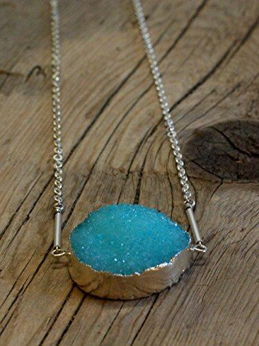 Solid Druzy Quartz Necklace/05 - Aquamarine