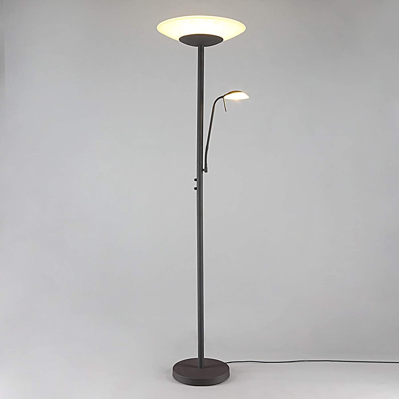 LED Deckenfluter Elaina Leselampe Lampenwelt Stehlampe LED E14 E27 Rost Landhaus