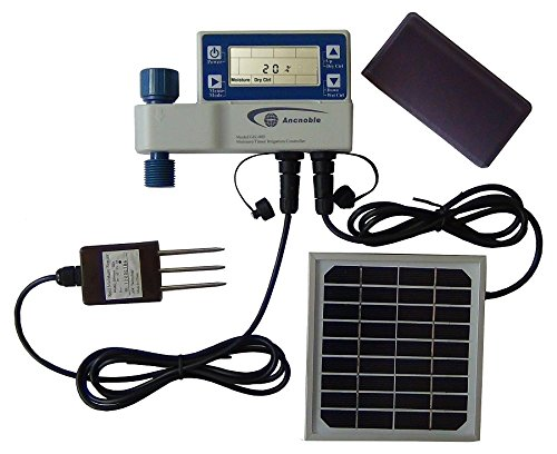 Controller Solar Irrigation (Ancnoble GG-005C-1 Irrigation Controller with Moisture Sensor and Solar Powered, 9.5 by 3 by 7-Inch, White and Blue)