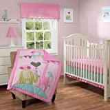 3pc Baby Girl Pink Green Circus Elephant Giraffe Crib Set