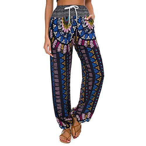 TIFENNY Loose Yoga Capris Lantern Pants for Women Striped Print Casual Leggings Pants Ladies Wide Leg Pants Trousers Blue]()