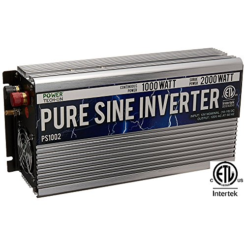 Power TechON 1000W Pure Sine Wave Inverter 12V DC to 120V AC with 2 AC Outlets + 1 5V USB Port, 2 Battery Cables, and Remote Switch (2000W Peak) PS1002 (Inverter 1000 Watt)