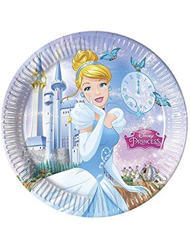 Procos 85685-Disney Princess Cinderella (23Cm) Paper Plates, 8Pieces, Blue