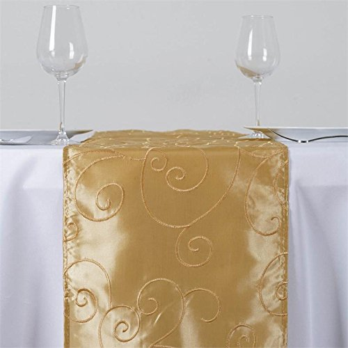 Christmas Tablescape Decor - Sophisticated and luxurious champagne crinkle taffeta table runner.