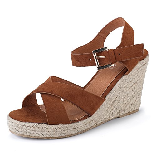 Alexis Leroy Women's Crisscross Strap Slingback Espadrilles Wedge Heel Sandals Brown