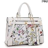 2 Tone Large Satchel Handbag Designer Top Handle Purse Fashion Shoulder Bag (With Zipper Purse-White Floral)