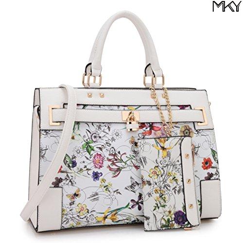2 Tone Large Satchel Handbag Designer Top Handle Purse Fashion Shoulder Bag (With Zipper Purse-White (Used Designer Handbags)