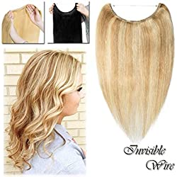 """16-22inch Highlighted Flip on Human Hair Extensions Hidden Wire Crown in Hairpiece Secret Translucent Fish Line No Clip Miracle Headband - 22"""" Light Ash Blonde&Bleach Blonde 18&613#"""