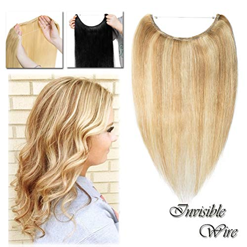Miracle Hidden Invisible Translucent Wire in Human Hair Extensions Fish Line Highlight Ombre No Clip in Long Straight Ash Blonde & Bleach Blonde 16 inch Remy Hair (16