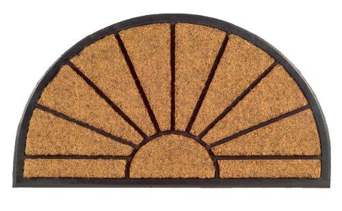Round Half Sunburst (Imports Decor Half-round Rubber Back Coir Doormat, Sunburst, 18-Inch by 30-Inch)