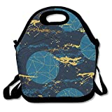 Xyou Neoprene Lunch ToteAdjustable Shoulder Strap Cosmic Trendy Hand Carrying Gourmet Lunchbox Container,Reusable