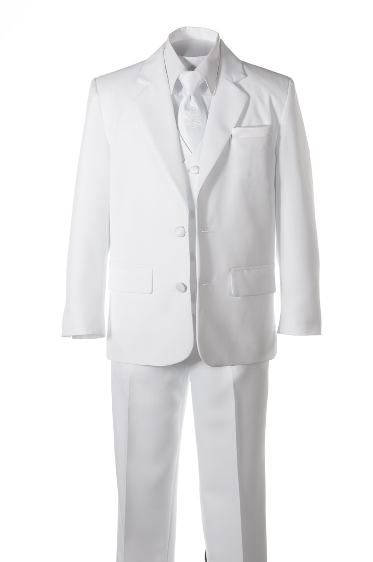 Boys White Suit Communion Cross Neck Tie, Covered Buttons & Hanky (12 )