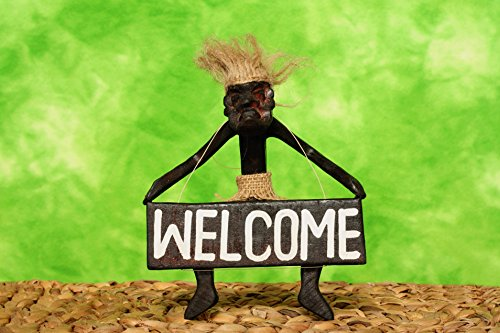 G6 Collection Handmade Wooden Primitive Tribal Statue Holding Welcome Sign Wall Sculpture Tiki Bar Handcrafted Unique Gift Art Decorative Home Decor Accent Figurine Decoration Hand Carved Welcome Sign