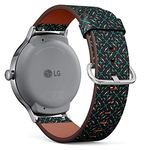 Compatible with [ LG Watch Style ] - 18mm Quick-Release Leather Band Bracelet Strap Wristband Replacement - Emerald Black