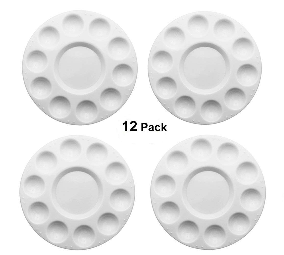 Plastic Paint Tray Palettes, 12 Pcs Round Paint Palettes for DIY Craft Professional Art Painting Easonove