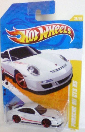 (Hot Wheels 2011-036 New Models Porsche 911 GT3 RS WHITE w/Red Stripe 1:64 Scale)