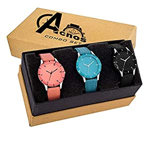 Acnos Special Super Quality Analog Watches Combo Look Like Preety for Girls and Women Pack of – 3(605-BLK-ORG-SKY)
