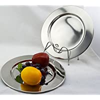 Set of 6 Stainless Steel Charger Plates 30.5cm.