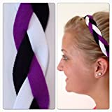 Fabulici Purple Black White Braided Headband - NON SLIP Sports Hair Bands
