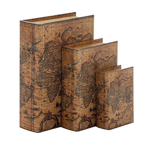 Woodland Imports 41073 Wood Faux Leather Book Box, Set of 3