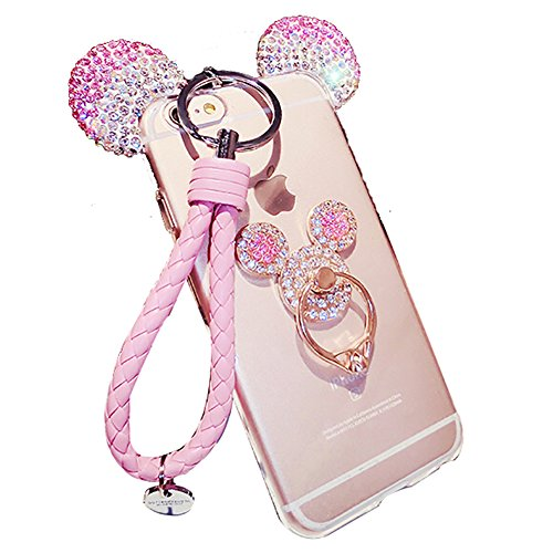 Iphone 5s Costume (iPhone 5 iPhone 5s Case, 3D Mickey Ear Clear Case Cover For iPhone 5 5s With Rotating Ring Holder Lanyard (Pink))