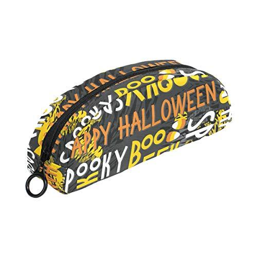 Letter Halloween Boo Pencil Case Pouch Bag Zipper Small Makeup Bag Stationery for Kids Boy Teen Girl School]()